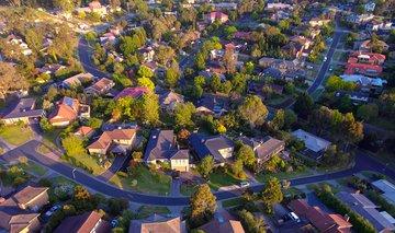 aerial shot of urban suburbs