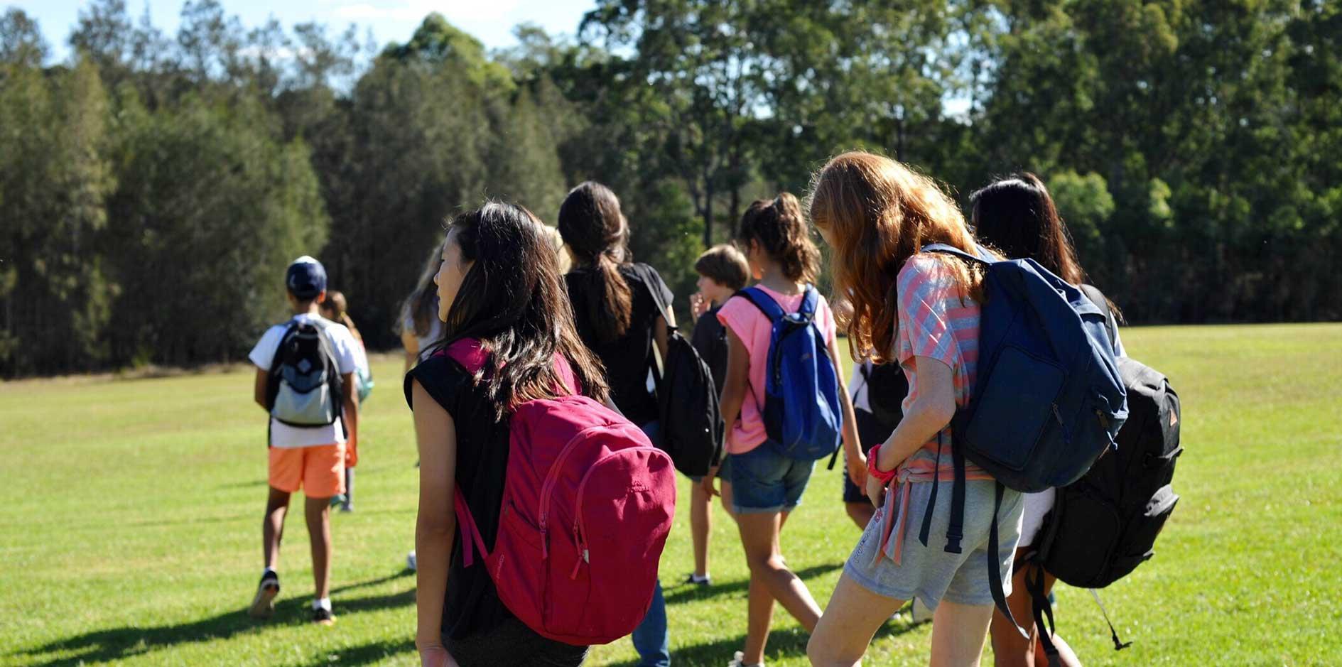 students in field